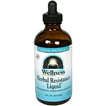 Source Naturals Wellness Herbal Resistance Liquid Subligual - Non-Alcohol, 100% Pure With Echinacea, Yin Chiao, Goldenseal & More - 8 oz
