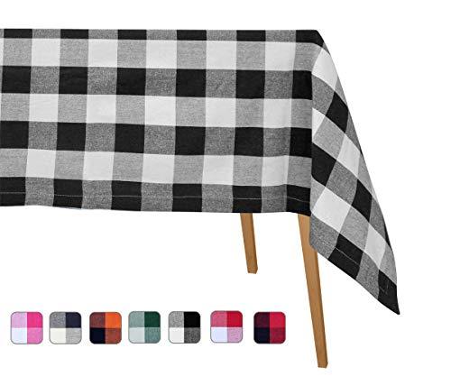 Buffalo Plaid Tablecloths Cotton - Black and White Buffalo Check Tablecloth - Cotton Black and White Tablecloth - Extra Large Table Cloth (Table Cloth(63 X 126), Checked (White/Black)) ()