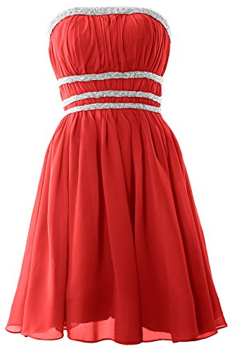 MACloth Women Strapless Chiffon Short Prom Dress Cocktail Party Formal Gown Rojo