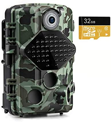 Usogood Trail Game Camera with 32GB Memory Card 20MP 1080P Night Vision Hunting Camera Motion Activated IP66 Waterproof 2.4 LCD for Outdoor Wildlife, Garden, Animal Scouting and Security Surveillance