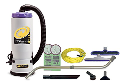ProTeam Backpack Vacuums, Super QuarterVac Commercial Backpack Vacuum Cleaner with HEPA Media Filtration and Telescoping Wand Tool Kit, 6 Quart, Corded - Backpack Vacuum Commercial Hepa