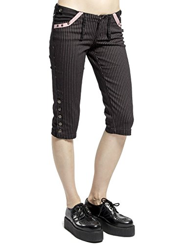 Cotton Pinstripe Shorts (Tripp Gothic Punk Rock Tattoo Pinstripe Knee Capri Shorts (3))