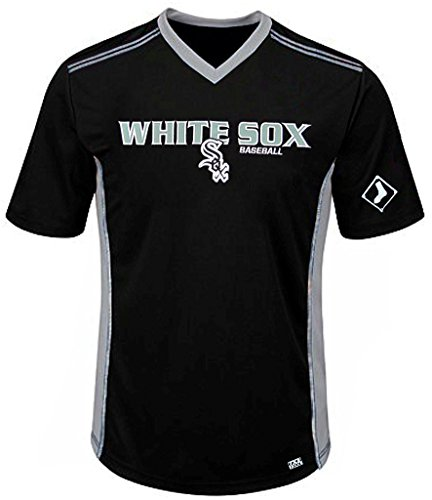 (VF Chicago White Sox MLB Mens Cool Base Performance V Neck Jersey Black Big Sizes (4XL))