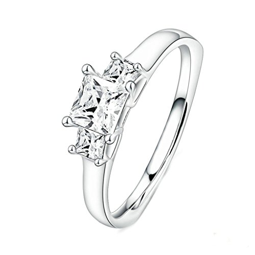 Daesar Silver Plated Womens Wedding Rings Silver CZ Rings Square White Princut Cut Ring US:7