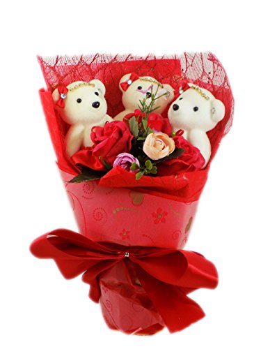 Special Occasion Teddy Bear Flower Bouquet Wrapped with Satin Bow Ready for Gift Giving Dance Recital Valentine's Day Birthday - Ideas Day Valentines Dance