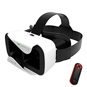 VR Headset, YSSHUI 3D Glasses XiaoCang Virtual Reality with Bluetooth Remote Control Movie Game For IOS Android Microsoft& PC phones Series within 4.7-6.0inches-White
