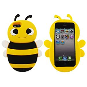 SODIAL(TM) Lovely Yellow 3D Bee Shape Soft Silicone Gel Back Case Cover for Apple? iPhone? 5