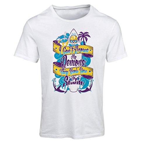 lepni.me T Shirts for Women I Can't Drown My Demons They Know How to Swim - Surfer Clothing, Surfing Quotes (Medium White Multi Color) (Couple Surfboard Stand)