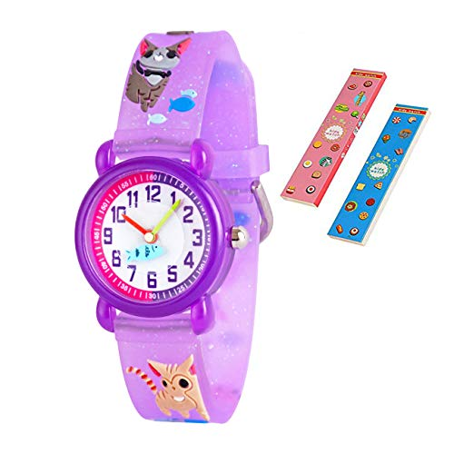 Toddler Kids Children Watch,3D Cute Cartoon Silicone Band Wristwatches Time Teacher Gifts Watches for Kids Girls Toddlers (Purple Cat) by Angels' (Image #7)