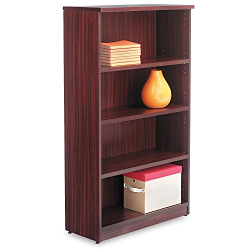 Alera Valencia Series Bookcase, 4 Shelves, 31-3/4w x 14d x 55h, Mahogany - 4 Shelf Mahogany Desk