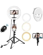 PEHESHE LED Ring Licht met Statief en Telefoonhouder, Dimbare 3 Kleuren 10 Helderheid Selfie Ringlamp Make up Verlichting met USB Live Streaming Cirkel Licht voor YouTube Video Selfie