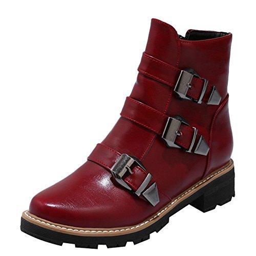 Latasa Womens Monk Strap Chunky Heel Short Boots Dark Red zeXkg8q4OP