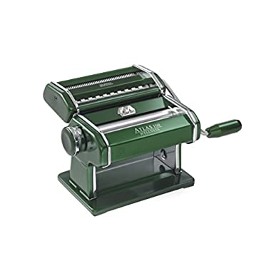 Marcato Atlas Pasta Machine, Stainless Steel, Green, Includes Pasta Cutter, Hand Crank, and Instructions