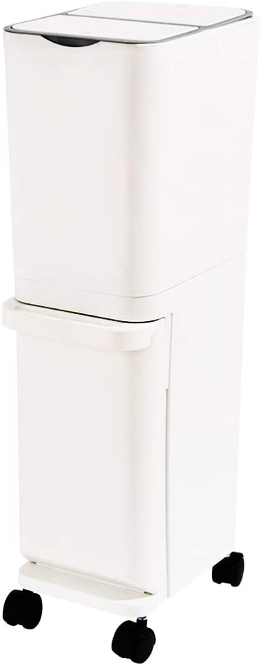 DeHome Small Plastic Double Kitchen Trash Can with Press Open Lid, Cute Compact Slim Dual Recycling Bins with Wheels, Simple Vertical Rectangular Waste Separation Trash Can 8.5 Gallon. (White)
