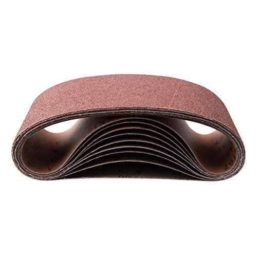 POWERTEC 110680 4 x 36 Inch Sanding Belts | 80 Grit Aluminum Oxide Sanding Belt | Premium Sandpaper - 10 Pack