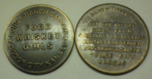 Long Branch Saloon Dodge City Kansas Solid Brass Brothel Token -