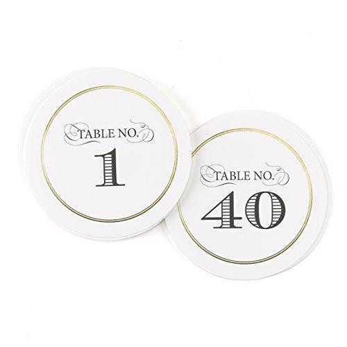 Hortense B. Hewitt 40 Count Golden Elegance Table Numbers, Black/Gold