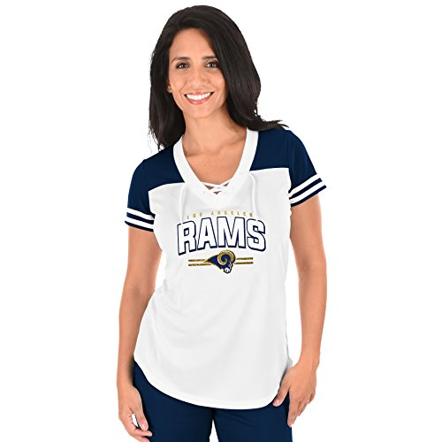 NFL Los Angeles Rams Adult Women NFL Plus S/Lace Up V Neck Tee,2X,WHT/NVY by Profile Big & Tall
