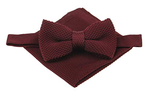 (Mens Plain Knitted Bowtie and Pocket Square Set-Various Color (Burgundy))