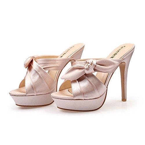 Talons Talon Plate DANDANJIE Stiletto Slender Forme Plein Poissons Big Pantoufles Air Chaussures en Bouche Bow Hauts Unique Sandales Super Femmes E44w8qvWrX