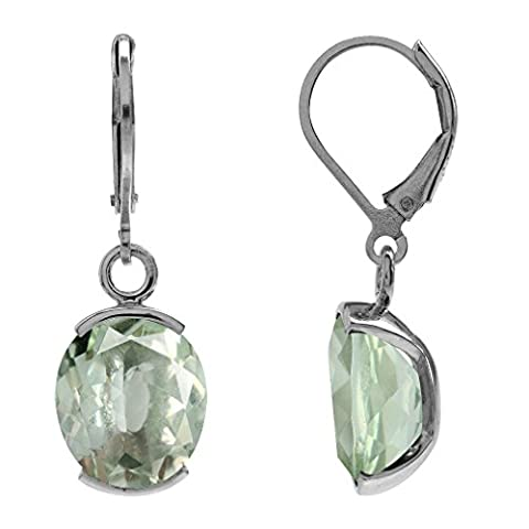 7.66ct. Natural Green Amethyst White Gold Plated 925 Sterling Silver Leverback Dangle Earrings - Cut Green Amethyst Earrings