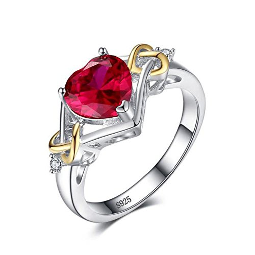 VERA NOVA JEWELRY Love Knot Heart 2.5ct Synthetic Red Ruby Ring Made with 925 Sterling Silver