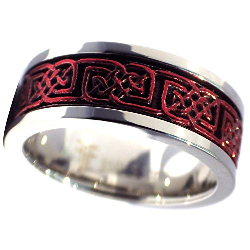 Fantasy Forge Jewelry Crimson Red Celtic Spinner Ring Stainless Steel Band 8mm Comfort Fit Size 6