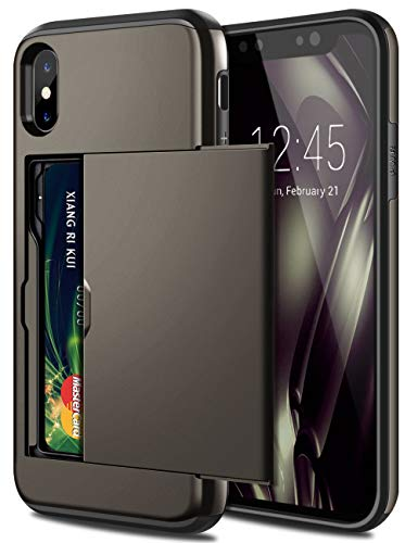 SAMONPOW iPhone X Case, iPhone 10 Case,Hybrid iPhone X Wallet Case Card Holder Shell Heavy Duty Protection Shockproof Defence Anti Scratch Soft Rubber Bumper Cover Case for iPhone X Gun Color