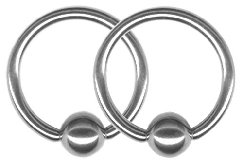 (BodySparkle Body Jewelry Pair of 16 gauge Captive Bead Rings-1 inch (25mm) -Steel CBR-Lip Ring-Cartilage Earring-Nipple Ring)