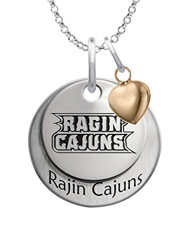 Louisiana Lafayette Ragin' Cajuns Sterling Silver Stacked Mascot Charm Necklace with Heart Accent - Lafayette College Mascot