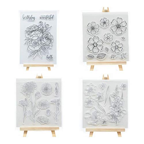 Welcome to Joyful Home 4pcs/Set Flower Series Clear Stamp for Card Making Decoration and Scrapbooking -