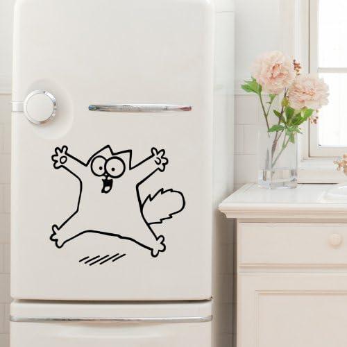 Simon's Cat - Wandtattoo für Kühlschranke–35x 40cm, schwarz.