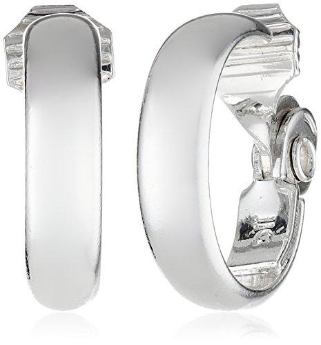 Anne Klein Classics Silver-Tone Medium Hoop Clip-On Earrings (Silver Clip Earrings)