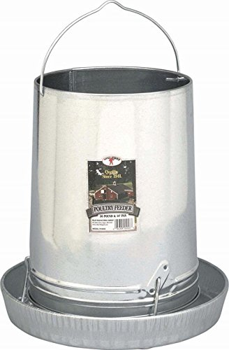 - Hanging Poultry & Gamebird Feeder with Feed Pan, 30 Lb Galvanized Steel