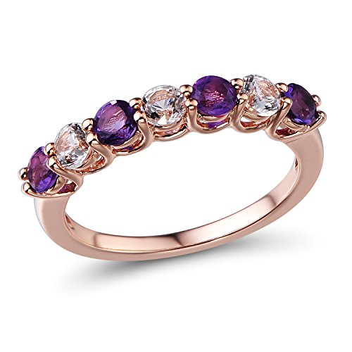 Lab Created White Sapphire and Amethyst Ring in 10k Rose Gold