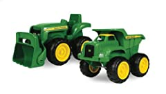 The John Deere vehicle pack is perfect for the sandbox because of their durable plastic construction and child friendly designs, this pack is ideal for children ages 18 months and older. Outfitted in the popular John Deere Green and yellow co...