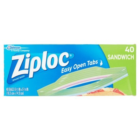 Ziploc Zipper Sandwich Bags | Now Featuring Our Easy Open Tabs (40-Count)