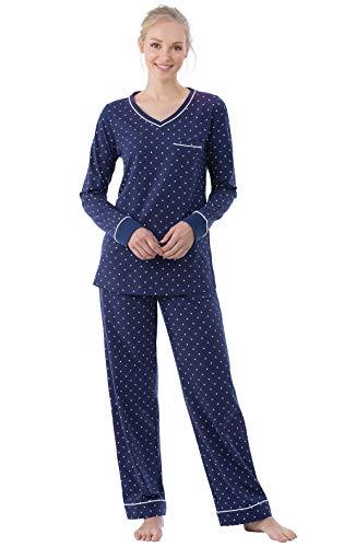 PajamaGram Cotton Pajamas for Women - Womens PJ Sets, Pullover, Navy, 2X, 20-22