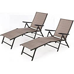 Cloud Mountain Adjustable Chaise Lounge Chair Recliner Outdoor Folding Lounge Chair Chaise Lounge Chair Recliner Patio Pool Sun Loungers Chair, 2 Packs