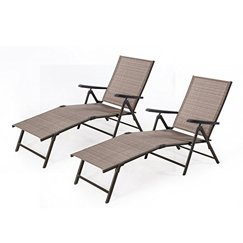 Cloud Mountain Pack of 2 Outdoor Recliner Lounge Chair Set Outdoor Adjustable Pool Chaise Patio Sun Loungers Chair Daybed Textilene Brown Powder Coated Anti-Rust, (Sun Pool)