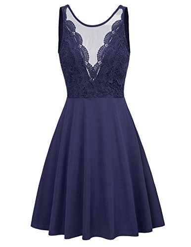 Women Sleeveless Lace Patchwork Open Back A Line Flare Party Dress L Navy Blue - Embroidered Patchwork Skirt
