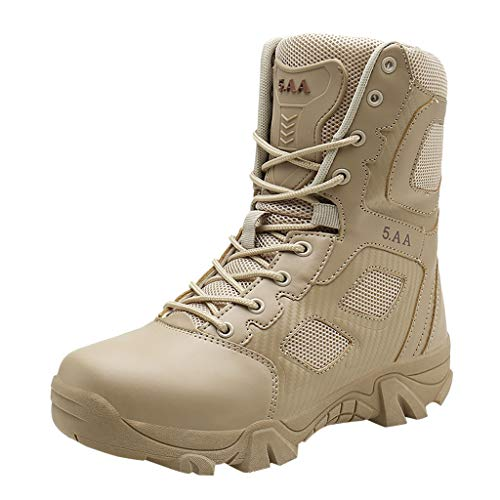 JJLIKER Men's High-Top Outdoor Military Tactical Ankle Boots Non-Slip Ultra Combat Mid Hiking Shoes ()