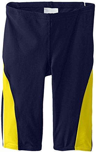 Speedo Big Boys' PowerFLEX Eco Taper Splice Jammer Swimsuit, Navy/Gold, (Speedo Boys Swimsuit)