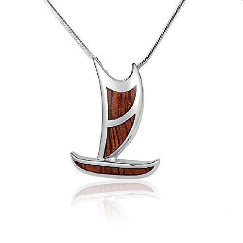 Heavy Weight Sterling Silver Koa Hawaiian Outrigger Canoe Pendant and 18 Inch Chain (Canoe Outrigger Hawaii)
