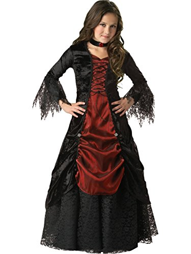 InCharacter Costumes, LLC Girls 7-16 Gothic Vampira Gown Set, Black/Burgundy, 10