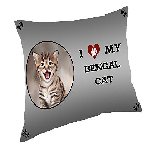 I Love My Bengal Cat Throw Pillow (18x18)