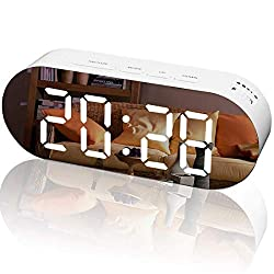 WulaWindy Alarm Clock Digital Mirror Surface Dimmer Large LED Display with Dual USB Charger Ports Snooze Sleep Timer for Bedroom Decor (White & Orange)