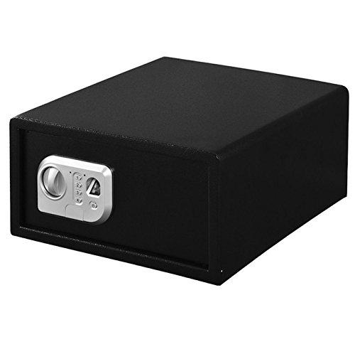 Black 15.7'' Biometric Fingerprint Digital Electronic Safe Box Security Keypad Lock Key Home Office Business Hotel Use Quick Access Money Jewelry Gun Pistol Book Valuables Deposit Compact Size