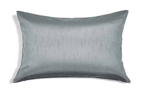 (Aiking Home Solid Faux Silk Decorative Pillow Cover, Zipper Closure, 12 by 18 Inches, Charcoal)