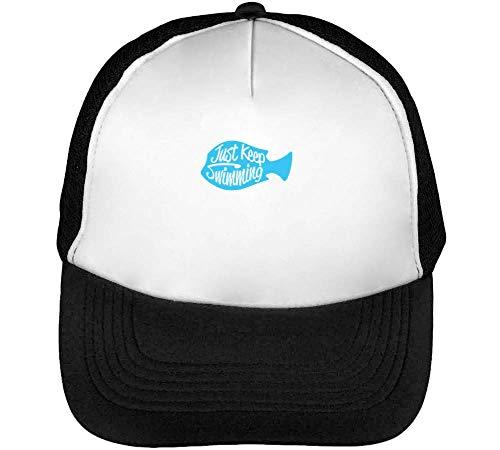 Keep Swimming Fish Motivational Gorras Hombre Snapback Beisbol Negro Blanco